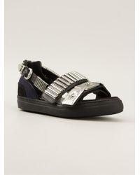 Toga Pulla Black Embellished Sandals