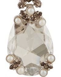 Givenchy - Gray Drop Earrings In Palladium-Tone Brass, Swarovski Crystal And Pearl - Lyst