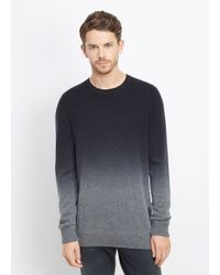 Vince Black Wool Cashmere Dégradé Crew Neck Sweater for men