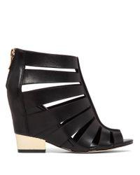 BCBGeneration Black Charlie Leather Wedge Sandals