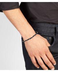 Bottega Veneta Black Intrecciato Oxydized Silver Nappa Bracelet for men