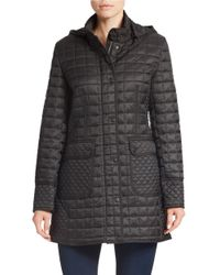 DKNY | Black Hooded Quilted Coat | Lyst