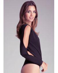 Bebe Black Cold Shoulder Bodysuit