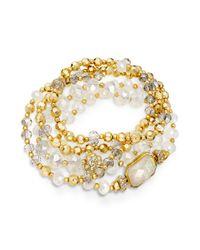 INC International Concepts - Metallic Goldtone Opalcolored Bead Stretch Bracelet - Lyst