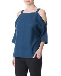 Tibi - Blue Aurora Drape Cut Out Top - Lyst