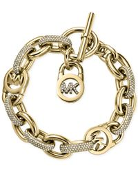 Michael Kors | Metallic Gold-Tone Crystal Toggle Link Bracelet | Lyst