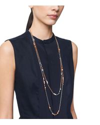 Tory Burch Metallic Geo-Cube Double-Strand Necklace