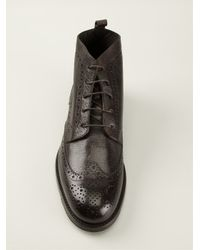Canali | Brown Perforated Lace-Up Boots for Men | Lyst