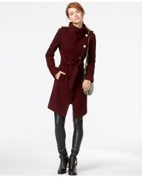 Guess | Purple Funnel-collar Asymmetrical Coat | Lyst