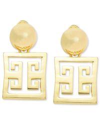 Roman Luxe | Metallic 14K Gold-Plated Greek Key Drop Earrings | Lyst