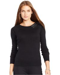 Lauren by Ralph Lauren Black Shaela Buckle Jumper