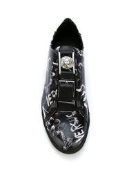 Versus Black Painted-Logo Leather Sneakers for men