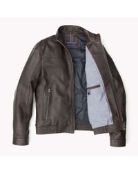 Tommy Hilfiger | Brown Leather Regular Fit Jacket for Men | Lyst