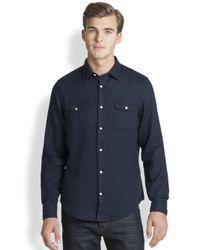 Vince - Blue Double Pocket Linen Sportshirt for Men - Lyst