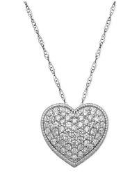 Arabella | Metallic White Swarovski Elements Heart Pendant (2-1/8 Ct. T.w.) | Lyst