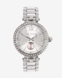 Ted Baker | Metallic Embellished Round Face Watch | Lyst