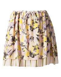 SUNO - Multicolor Foliage Print Skirt - Lyst
