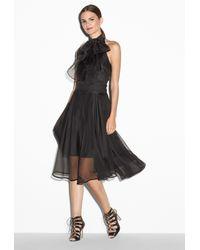 MILLY Black Gwyneth Silk-Organza Dress