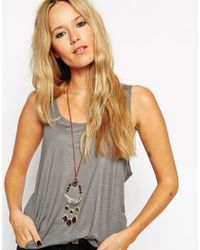 ASOS | Brown 70'S Boho Long Pendant Necklace | Lyst