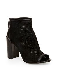 Steven by Steve Madden - Black Foxxi Leather And Mesh Peeptoe Booties - Lyst