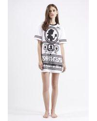 TOPSHOP - Black Snow White Print Pajama Tee - Lyst