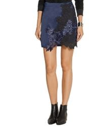 3.1 Phillip Lim Blue Silk-Satin And Guipure Lace Mini Skirt