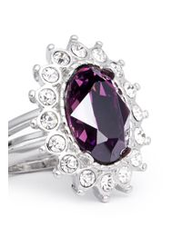 Kenneth Jay Lane - Metallic Amethyst Crystal Ring - Lyst