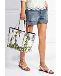 Dolce & Gabbana - Multicolor Escape Medium Floral-Print Textured-Leather Tote - Lyst