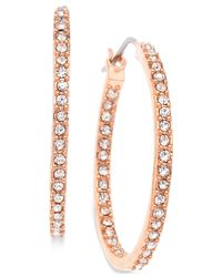 T Tahari | Metallic Rose Gold-tone Pavé Hoop Earrings | Lyst