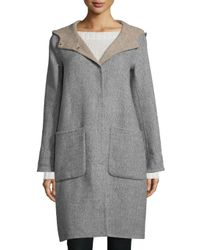 Eileen Fisher | Gray Alpaca Double-face Knee-length Coat | Lyst