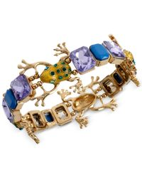 Betsey Johnson - Green Gold-Tone Frog Stretch Bracelet - Lyst