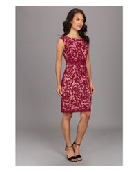 Adrianna Papell | Red Lace Sheath W Nude Lining | Lyst