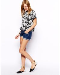 ASOS Black Roll Sleeve Crop Blouse In Mono Floral Print