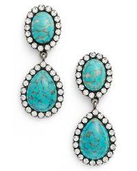 DANNIJO - Blue 'cash' Drop Earrings - Turquoise/ Silver - Lyst