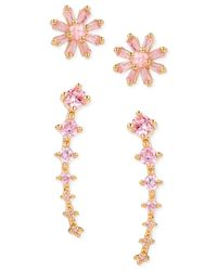 Betsey Johnson | Metallic Gold-tone Pink Crystal Stud And Cuff Earring Set | Lyst