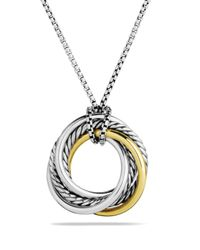 David Yurman - Metallic Crossover Small Pendant With Gold On Chain - Lyst