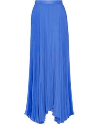 Alice + Olivia | Blue Ava Leather-Trimmed Chiffon Maxi Skirt | Lyst