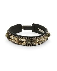 Deepa Gurnani | Metallic Two-Tone Feather Bracelet | Lyst