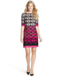 Eliza J | Black Print Jersey Shift Dress | Lyst
