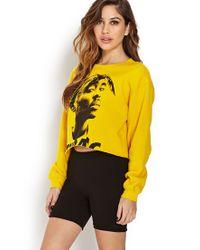 Forever 21 - Yellow Tupac Cropped Cutoff Sweatshirt - Lyst
