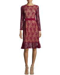 Melissa Masse Purple Long-sleeves Lace Dress W/ Ruffle Hem
