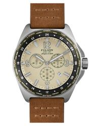 Filson | Brown 'the Journeyman' Chronograph Gmt Leather Strap Watch for Men | Lyst