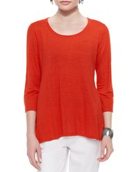 Eileen Fisher - Red 3/4-sleeve Linen Jersey Top - Lyst