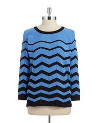Jones New York - Blue Chevron Sweater - Lyst