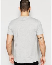 Farah Gray T-shirt With Chest Stripe Slim Fit for men