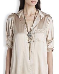 Lanvin | Metallic Dahomar Crystal Embellished Necklace | Lyst