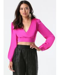Bebe - Pink Plunge Neck Crop Top - Lyst
