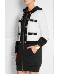 Moschino - Black Hooded Wool-blend Bouclé And Jersey Jacket - Lyst