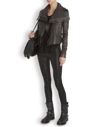 Rick Owens Gray Dark Grey Washed Leather Biker Jacket