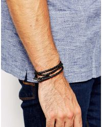 Seven London - Black Plaited Leather Wrap Bracelet for Men - Lyst